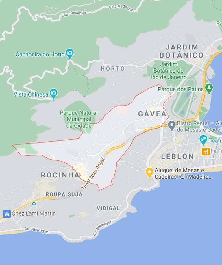 Mapa da Gávea RJ
