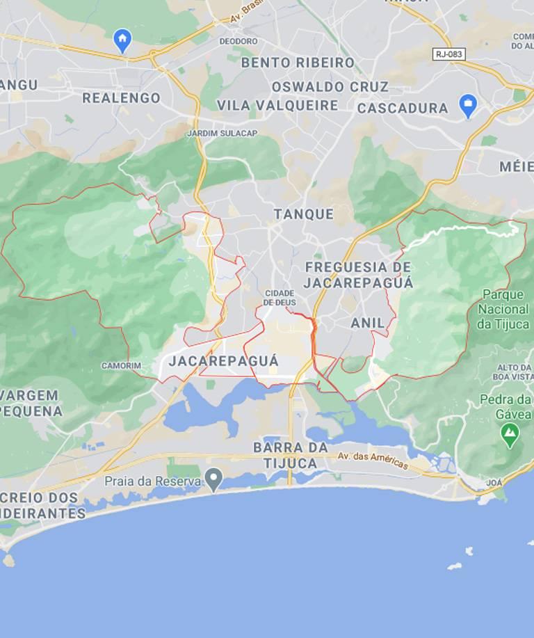 Mapa de Jacarepaguá RJ