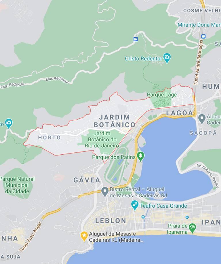Mapa do Jardim Botânico RJ
