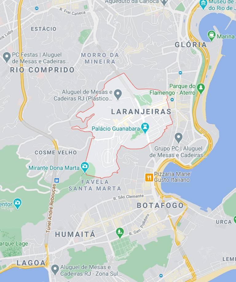 Mapa das Laranjeiras RJ