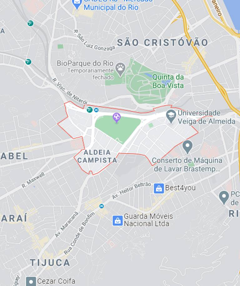 Mapa da Praça da Bandeira RJ