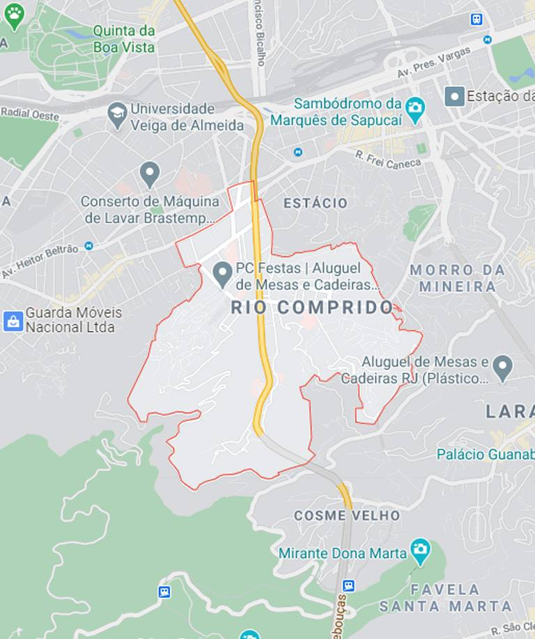 Mapa do Rio Comprido RJ