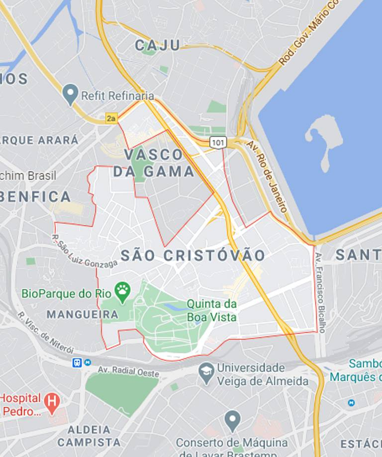 Mapa de São Cristóvão RJ