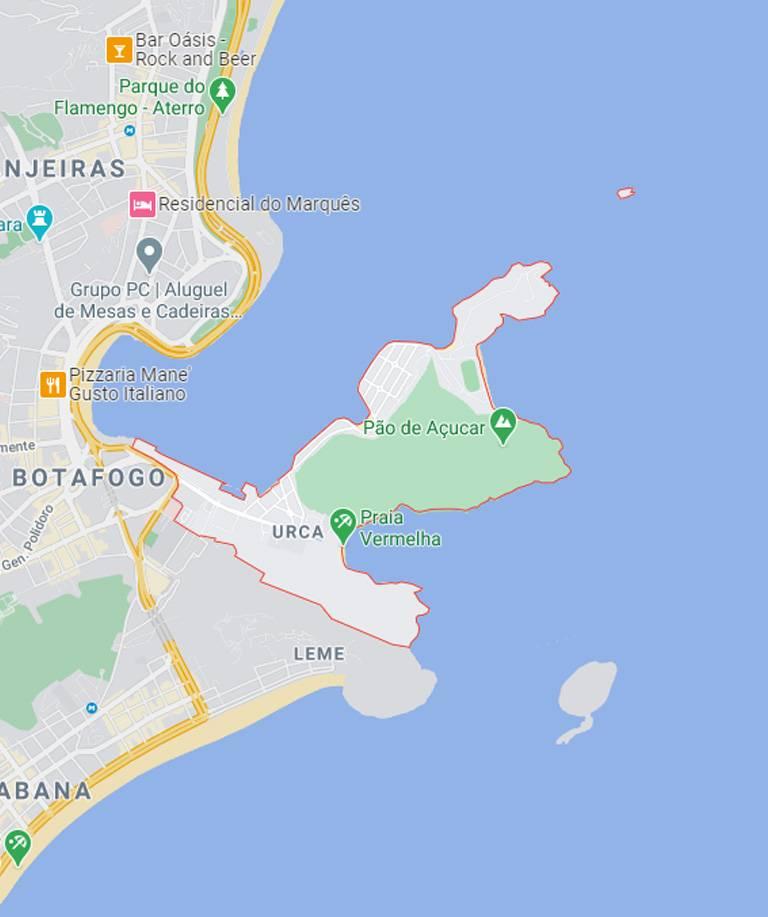 Mapa da Urca RJ