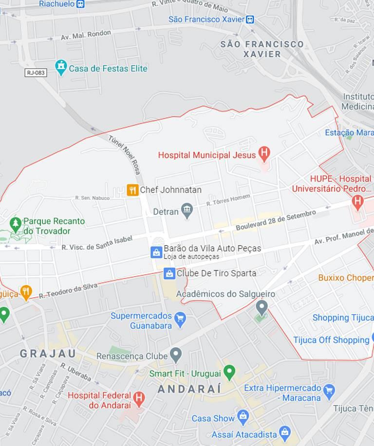 Mapa de Vila Isabel RJ