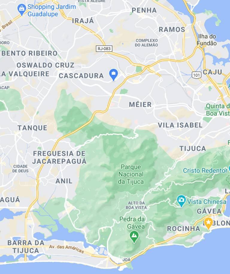 Mapa da Zona Norte RJ