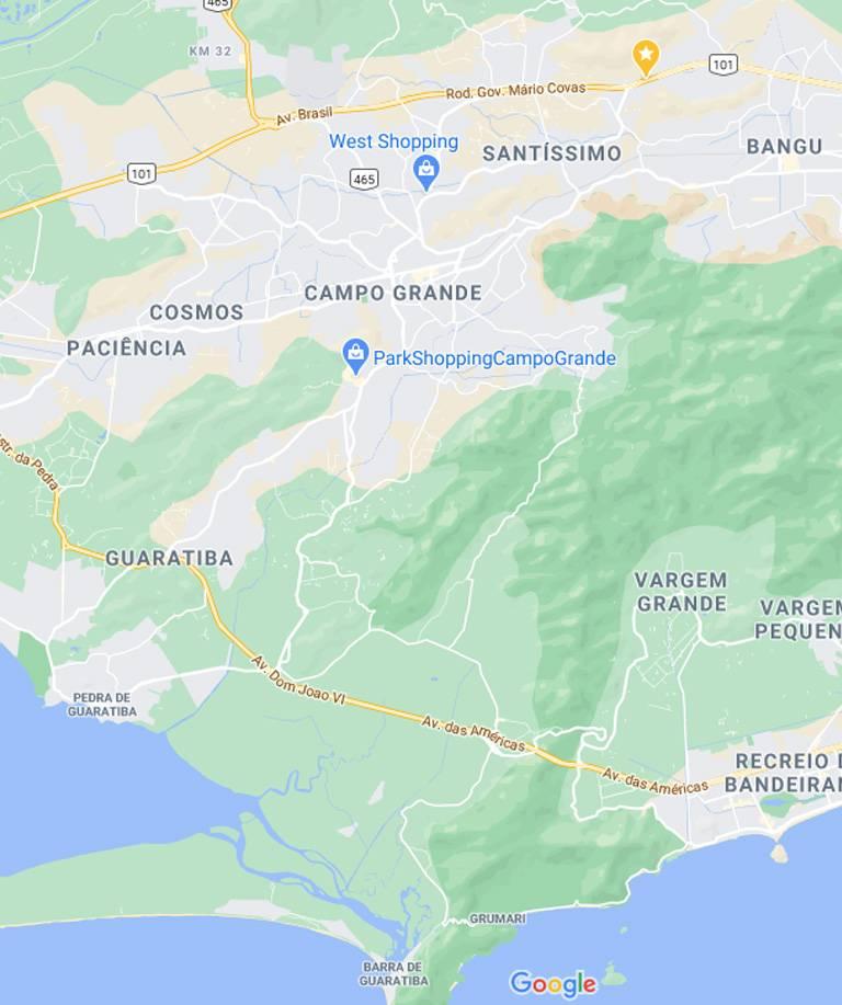 Mapa da Zona Oeste RJ